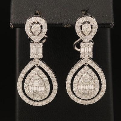 14K 3.05 CTW Diamond Pendant Earrings
