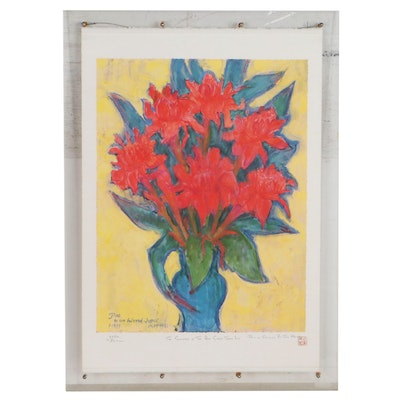 """Offset Lithograph After Theo Meier """"The Glamour of the Red Ginger Torch Lily"""""""