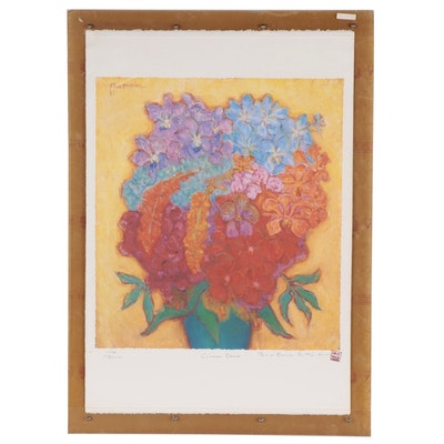 """Offset Lithograph After Theo Meier """"Chiangmai Orchids,"""" Late 20th Century"""