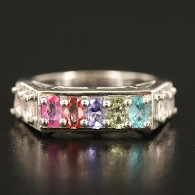Sterling Morganite, Sapphire and Tanzanite Bar Ring