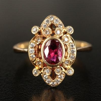 18K Ruby and Diamond Openwork Navette Ring