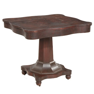 American Empire Mahogany Pedestal Game Table, Late 19th to Early 20th Century