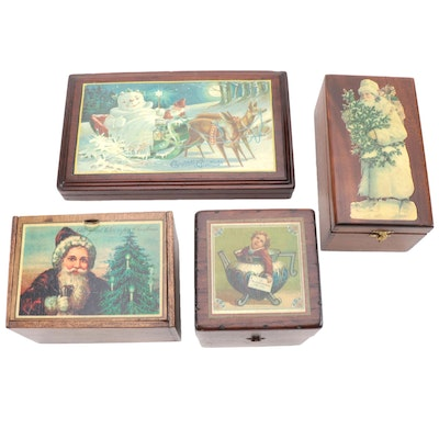 Christmas and Winter Motif Decorative Wooden Boxes
