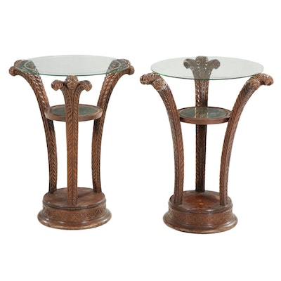 Pair of Glass Top Wooden Accent Tables with Carved Feather Plume Form Legs