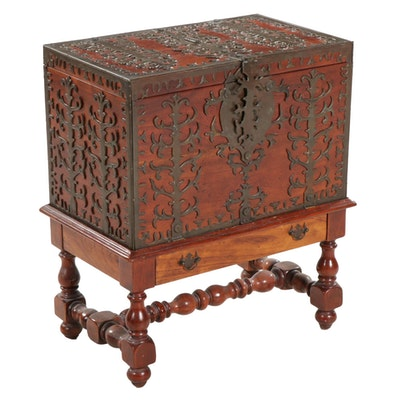 Rosewood Chest on Base with Brass Decor