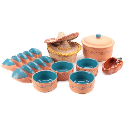 Himark Terracotta Tortilla Warmer with Bowls, Taco Holders, Baskets and Decor