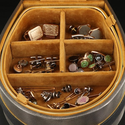 Cufflinks, Tie Clips, and Shirt Studs in a Horsehoe Shaped Jewelry Box