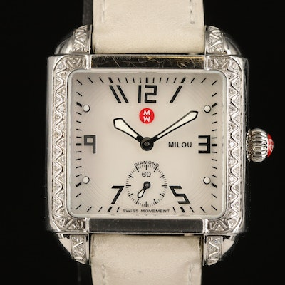 Michele Milou Diamond Case and MOP Dial Stainless Steel Wristwatch