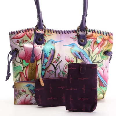 Anuschka Hand-Painted Bird and Floral Leather Tote with Accessory Pouches