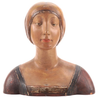 P. Mazzetti Italian Polychrome Terracotta Bust After Francesco Laurana, 20th C.