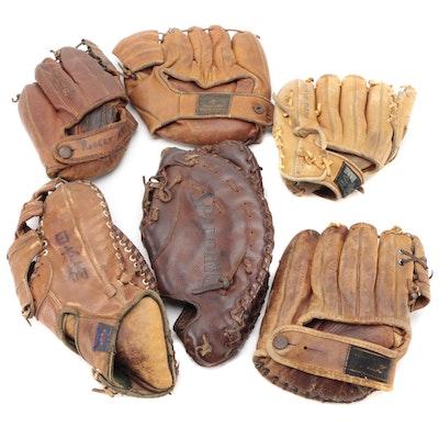 Nokona, Montgomery Ward, Spalding, and Other Leather Baseball Gloves