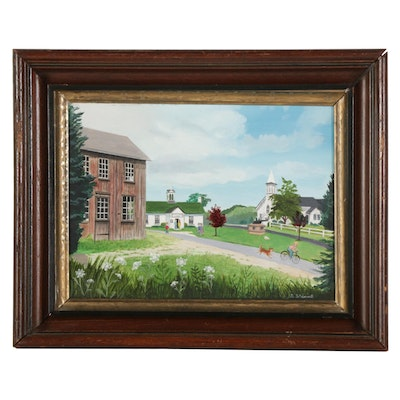 A. Stanwell Oil Painting of Ashawagh Hall in East Hampton, Circa 2000