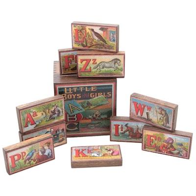 Wooden Decorative Blocks and ABC's Motif Box
