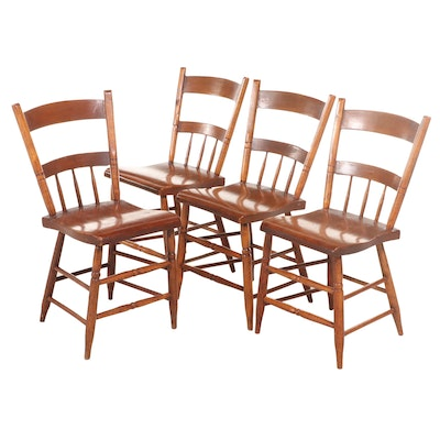 Matched Set of Four American Primitive Half Spindle-Back Side Chairs