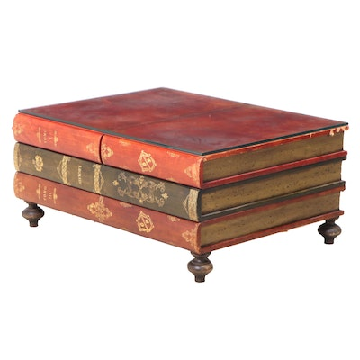 """Leather-Lined and Parcel-Gilt Three-Drawer """"Stacked Books"""" Coffee Table"""