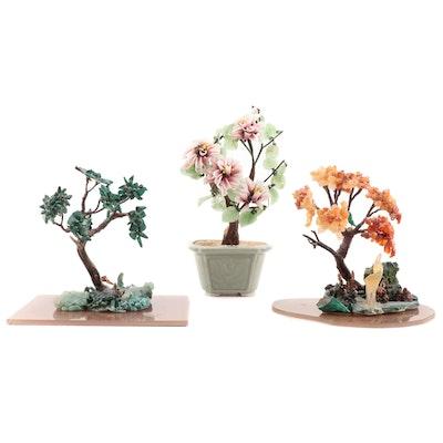 Japanese Bonsai Style Glass, Citrine, and Malachite Trees, Late 20th Century