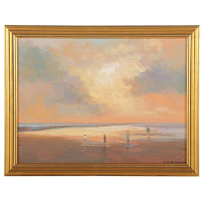 Sulmaz H. Radvand Seascape Oil Painting of Beach at Sunset, 2021