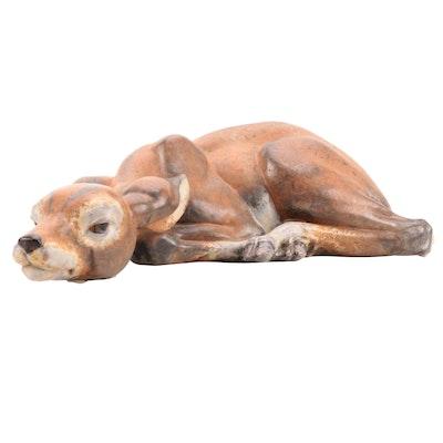 Lladró Gres Porcelain Resting Fawn Figurine
