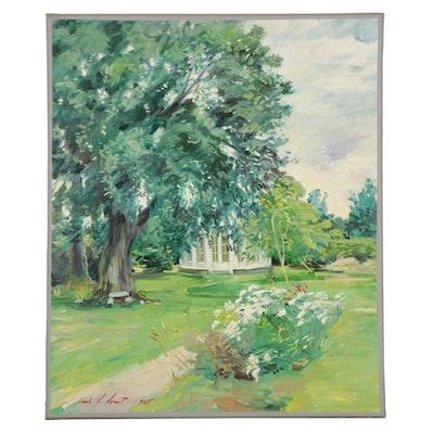 Charles Merrill Mount Oil Painting of Gazebo in Park, 1965