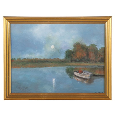 Sulmaz H. Radvand Landscape Oil Painting of Rowboat on Lake, 21st Century