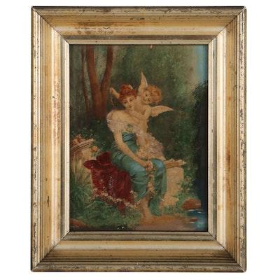 Victorian Era Hand-Painted Photogravure of Woman and Cherub