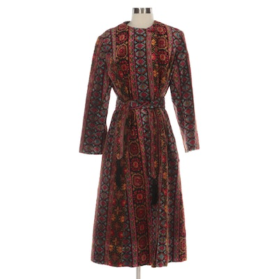 Carpet Coat in Multi Color Tapestry  Fabric with Tie Belt