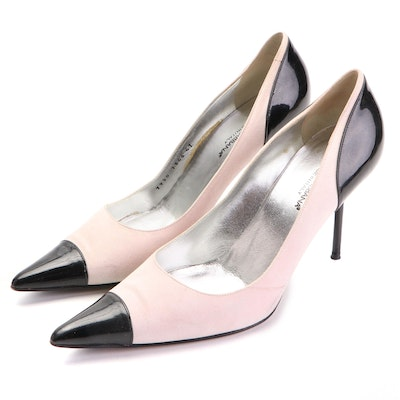 Dolce & Gabbana Pumps in Light Pink Nubuck and Black Patent Leather