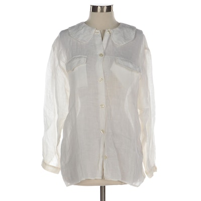 Giorgio Armani  Button-Up Shirt in White Linen with Peter Pan Collar