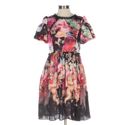 Dolce & Gabbana Ruffle Trim Floral Silk Putti Print Dress