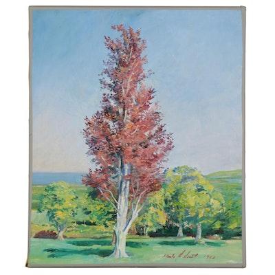 "Charles Merrill Mount Oil Painting ""The Copper Beech: Ashford,"" 1962"