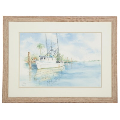 """Arlene Thompson Watercolor Painting """"White Sail Boat With Blue Water"""""""