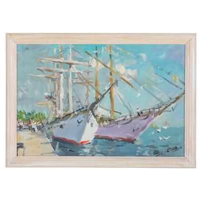 Harbor Scene Oil Painting, 1991