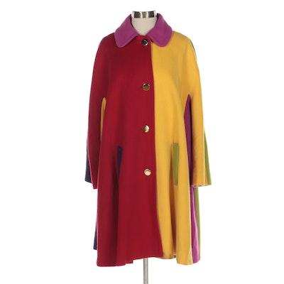 Bill Blass Color Block Swing Coat in Wool with Dolman Sleeves