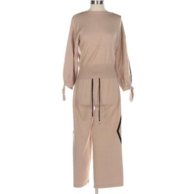 Layers Paris Knit Lounge Set with Intarsia Diamond Pattern Pants, Crew Neck top