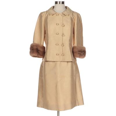 Lillie Rubin Skirt Suit with Mink Fur Cuffs, 1960s
