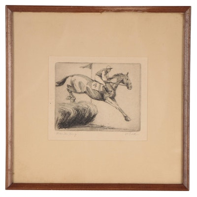 """E. Evitt Horse and Rider Etching """"Over the Jump"""""""