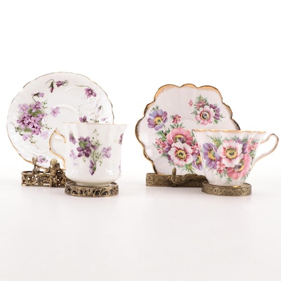 Hammersley and Rosina Bone China Teacups and Saucers with Display Stands