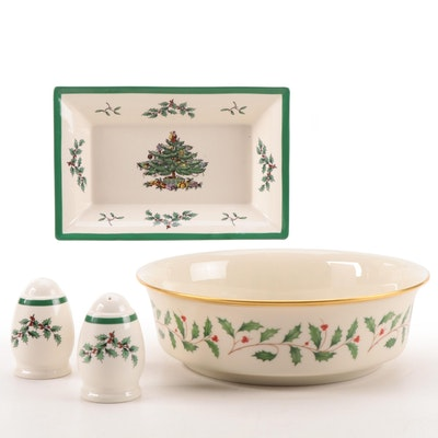 """Spode """"Christmas Tree"""" Shakers and Dish with Lenox """"Holiday"""" Vegetable Bowl"""