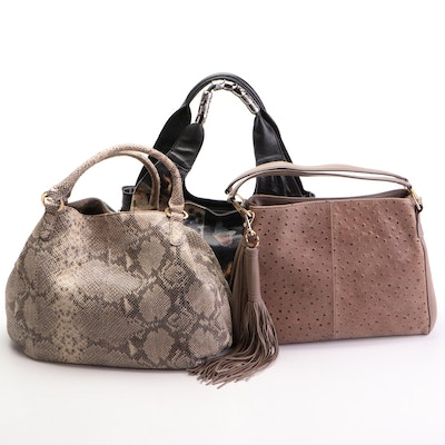 Sharif Printed Leather Hobo and G.I.L.I. Embossed Leather Shoulder Bags