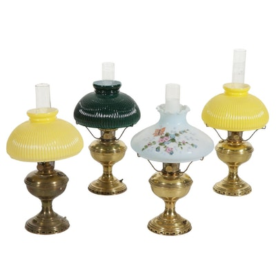 Electric Aladdin Brass Lamps with Glass Shades and Chimneys