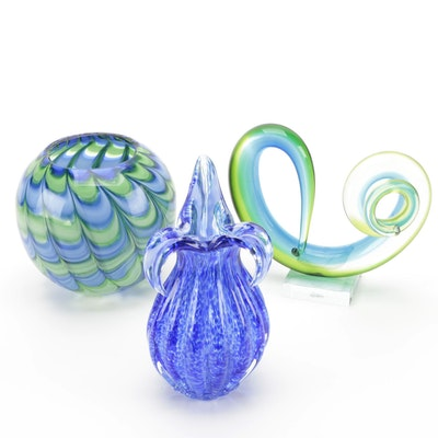 Feather Pulled Rose Bowl and Ribbed Vases with Freeform Glass Figure