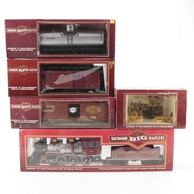 """Bachmann """"G"""" Scale Model RR 4-6-0 AT&SF Steam Locomotive, Freight Cars"""