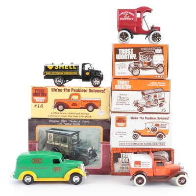 "Die-Cast Vintage Vehicle Banks Including ""Model T"", ""Studebaker"", and More"