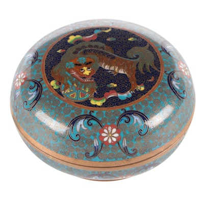 Chinese Cloisonné Guardian Lion Small Box