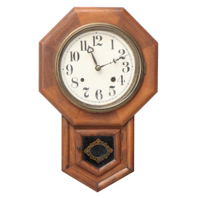 Handcrafted Wooden Pendulum Wall Clock, Late 19th/ Early 20th Century