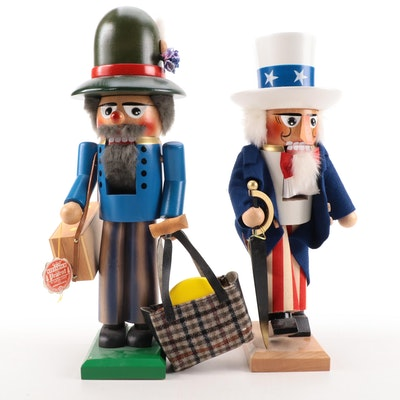"""Steinbach """"Uncle Sam"""" and """"Traveler"""" Handcrafted Nutcrackers"""