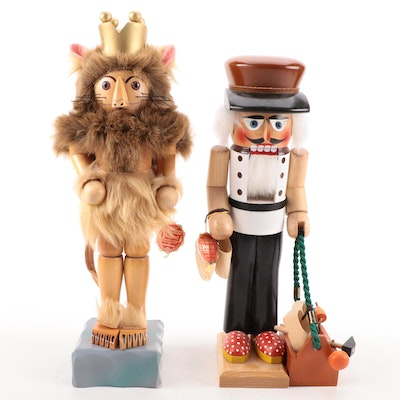 """Steinbach """"Cobbler Shoemaker"""" and """"Cowardly Lion"""" Handcrafted Nutcrackers"""