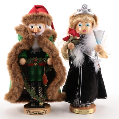 "Steinbach ""Irish Santa"" and ""Millennium Girl"" Handcrafted Nutcrackers"