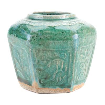 Chinese Green Glazed Shiwan Ware Hexagonal Vase