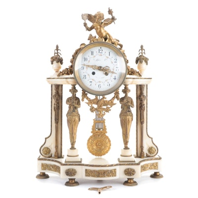Tiffany & Co. French Marble and Brass Mantel Clock, Mid to Late 19th Century
